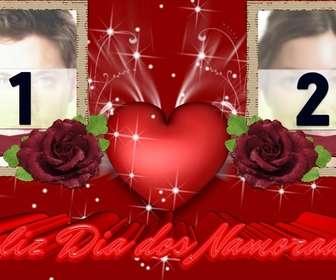 Ejemplo: Marco para dos fotos de amor, que felicita el dia de los enamorados, San Valentín.