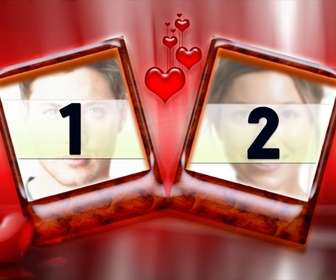 Frame for two photos with red background and hearts. Ideal for lovers on Valentines Day. Very elegant.