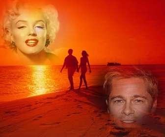 Collage de la playa y una pareja para poner tus fotos en un corazón.