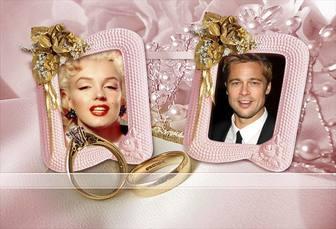 Marco para fotos de dos fotos con fondo de rosas amarillas, anillos de boda y joyas.