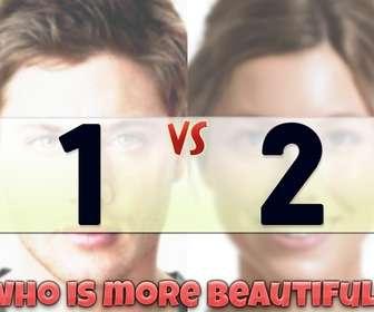 Fotomontaje para un par de fotografías, que compara la belleza de las dos personas que aparezcan en ellas. Con un cartel que dice en Inglés,¿quien es mas bello?