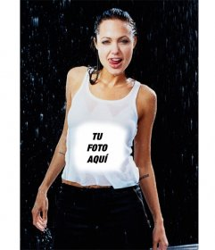 Pon tu foto en la camiseta de la sexy angelina Jolie