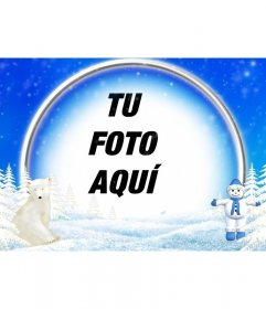 Marco para fotos de paisaje nevado, oso polar y muñeco de nieve