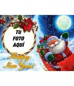 Fotomontaje para poner tu foto en un marco redondo en forma de lazo, en el que Papa Noel nos felicita el año nuevo