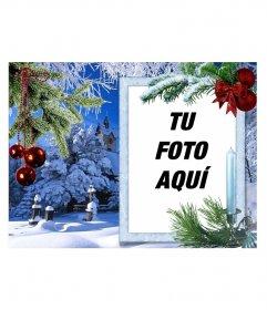 Recordatorio de Navidad con tu foto en un marco rectangular blanco
