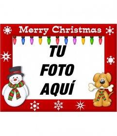 Cuadro para decorar fotos con la frase Merry Christmas y luces de colores
