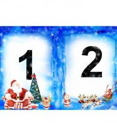 Tus imágenes elegidas aparecerán en sendas caras de una tarjeta plegable en un marco de hielo azul y nieve