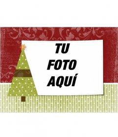 Postal de navidad para personalizar con una foto de tu elección con adorno de árbol navideño con una estrella.