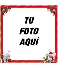 Marco de fotos para navidad, borde rojo con adornos de navidad. La puedes usar como felicitación.