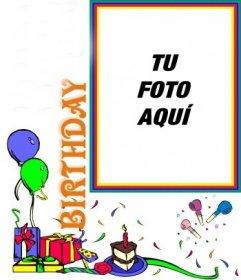 Postal de cumpleaños, adornos de fiesta personalizable con tu foto