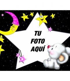Marco para fotos infantil,de oso durmiendo con la luna y las estrellas