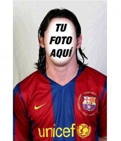 Fotomontaje de Lionel Messi del F.C. Barcelona para añadir tu cara en el
