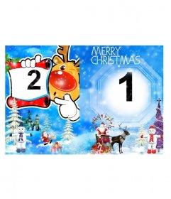 Felicitación Navideña de postal plegable que representa un paisaje nevado con abetos y muñecos de nieve