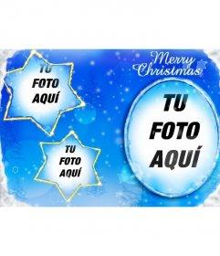 Marco para tres fotos insertadas en la luna y dos constelaciones en forma de estrella con el que felicitar esta Navidad.