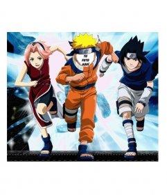 Plantilla para fotomontaje. Puedes poner una cara en el cuerpo de Naruto, a la carrera, acompañado por dos de sus amigos de aventuras, jóvenes ninjas. Cristales luminosos al fondo.