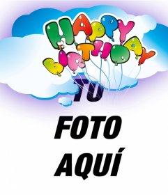Postal de felicitación de cumpleaños de Happy birthday con globos