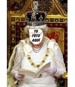 En este fotomontaje serás la Reina de Inglaterra, sentada en su trono real ataviada con la corona.