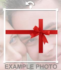 Adorno de regalos que puedes poner en tus fotos para hacer un efecto de que una persona es una regalo