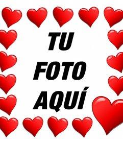 Corazones rodeando tu foto con este marco romántico para editar