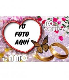 Marco para fotos en forma de Corazón donde insertar nuestra fotografía en un corazón. En la postal aparecen dos anillos de boda.