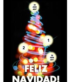 Montaje de un árbol de navidad con 4 fotos