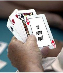 Fotomontaje para poner tu foto en un AS de corazones de una partida de poker
