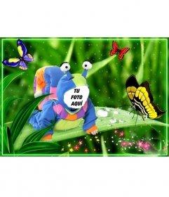 Fotomontaje para niños de disfraz de caracol con mariposas.