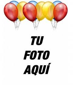 Postal de cumpleaños. Con globos de colores para poner tu foto de fondo.