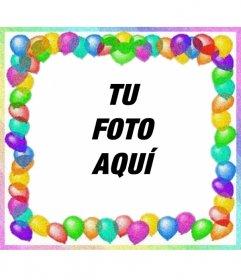 Marco Para Fotos Hecho Con Globos De Colores  Para Felicitaciones De