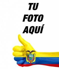 Añade una mano con la bandera pintada de Ecuador en tus fotos