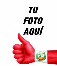 Tu foto con una mano con el pulgar arriba y la bandera de Perú pintada