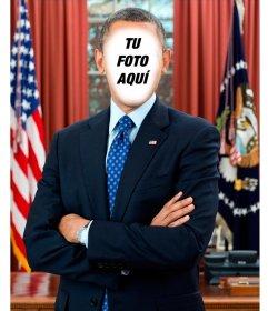 Fotomontaje para poner una foto en el presidente de Estados Unidos Barack Obama
