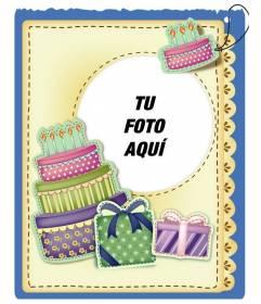 Tarjeta De Cumpleaños Con Tarta Y Regalos Efecto Pegatina Para Poner