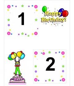 Postal de cumpleaños para dos fotos, con motivos de pastel, payaso y globos.
