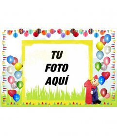 Postal de cumpleaños con bordes de globos de colores.