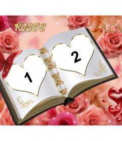 Marco para fotos personalizable con dos fotos diferentes. Libro del amor con ornamentos de rosas