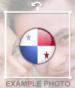 Pegatina de un botón con la bandera de Panamá para tus fotos