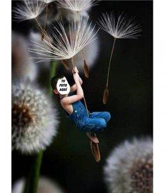 Fotomontaje de niño volando, para poner la foto de un niño.