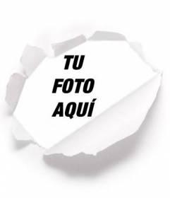 Pon tu foto detrás de un papel rasgado, ideal para fotos de perfil