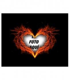 Marco para fotos con forma de corazón ardiendo en el que podrás poner tu foto de fondo