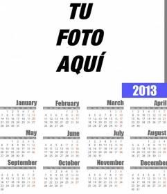 Calendario año 2013 para poner tu foto e imprimir(online).