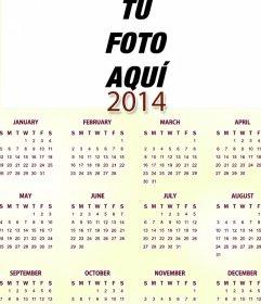 Calendario en inglés del año 2014 en el que podrás poner una foto ...