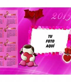 Calendario 2015 I Love You para personalizar con tu foto.