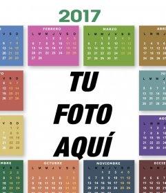 Calendario 2017 de colores para editar con tu foto gratis
