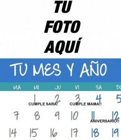 Creador de calendarios de cualquier mes y año