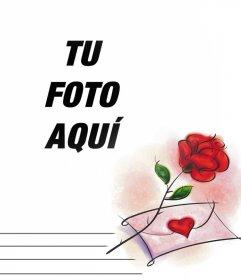 Foto efecto con una rosa roja y una carta de amor que puedes editar