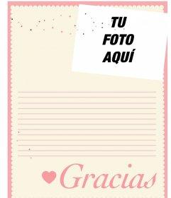 Carta de agradecimiento para editar y añadir tu foto online
