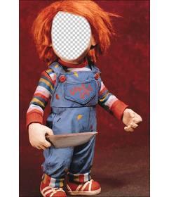 Fotomontaje de Chucky con un cuchillo para poner tu cara