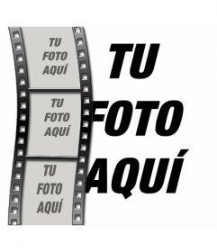 Montaje fotográfico de film de cine para hacer con 4 fotos, una de ellas de fondo
