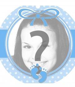 Marco circular azul perfecto para añadir la foto de un bebé